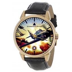 Supermarine Spitfire Vintage WW-II Poster Flame Colours Solid Brass Wrist Watch