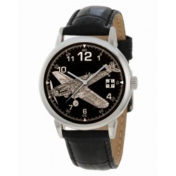 Bf-109 Messerschmitt Me-109 Luftwaffe WW-II Germany Blueprint Cross-Section Art 40 mm Wrist Watch