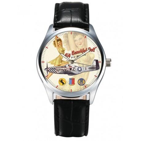 USAAF Mustang P-51 Fighter Rare WW-II Pinup Sexy Aviation Art 40 mm Wrist Watch