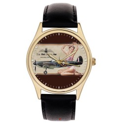 Spitfire: RAF WW-II Fighter Aircraft Classic Vintage Pinup Art Collector's Wrist Watch