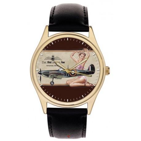 Spitfire: RAF WW-II Fighter Aircraft Pinup Art Collector's Wrist Watch