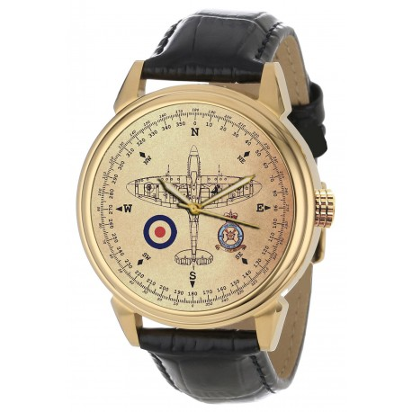 SPITFIRE: RAF WW-II 603 Squadron Commemorative Compass Dial Art 40 mm Wrist Watch