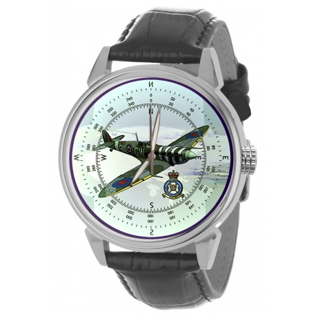Spitfire: RAF WW-II Fighter Aircraft Antiquated Blue 40 mm Wrist Watch