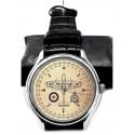 Spitfire 609 Squadron Royal Air Force WW-II Compass Art Solid Brass Wrist Watch