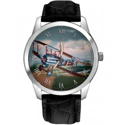 WW-I Sopwith Camel Raf Biplane Teal-Blue Art Collectible 40 mm Wrist Watch