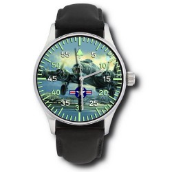 USAAF B-17 Flying Fortress Rare WW-II Aviation Art Solid Brass Wrist Watch