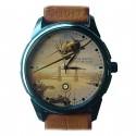 Spitfire Vintage Raf Battle Of Britain London Cityscape Aviation Art Wrist Watch