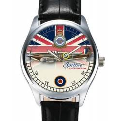 Classic Supermarine Spitfire RAF WW-II Union Jack Flag Backdrop Wrist Watch