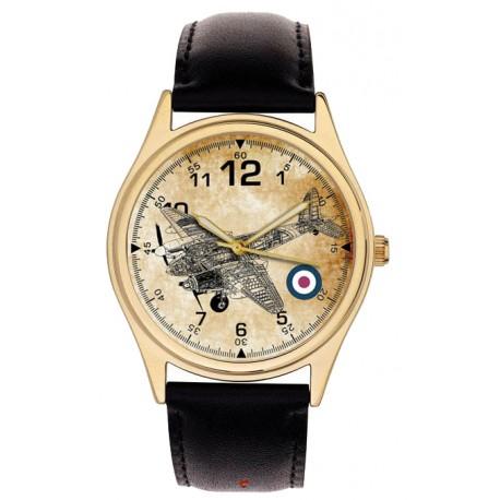 WW-II RAF DE HAVILLAND MOSQUITO CROSS-SECTION SCHEMATICS ART BRASS WRIST WATCH