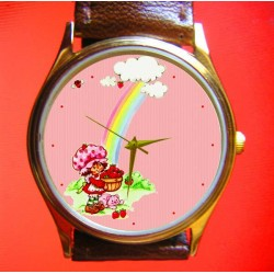 Vintage Strawberry Shortcake Collectible Pink Art Girls' Wrist Watch