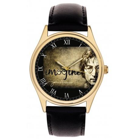 John Lennon Imagine Vintage Sepia Parchment Art Collectible 40 mm Wrist Watch