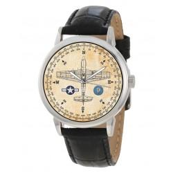 USAAF Mustang P-51 Fighter Rare WW-II Aviation Art 40 mm Wrist Watch