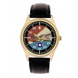 USAAF Mustang P-51 Fighter Rare WW-II Aviation Art 40 mm Wrist Watch