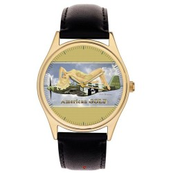 USAAF Mustang P-51 Fighter Rare WW-II Pinup Sexy Aviation Art 40 mm Wrist Watch