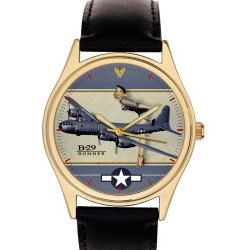 Boeing B-29 Superfortress WW-II Usaaf Pinup Art Solid Brass Collectible Wristwatch
