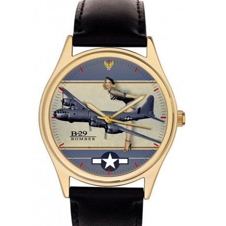 BOEING B-29 SUPERFORTRESS WW2 USAAF PINUP ART SOLID BRASS COLLECTIBLE WRISTWATCH