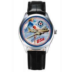 Classic Pinup USAAF B-17 Flying Fortress Rare WW-II Aviation Art Wrist Watch. Made in USA