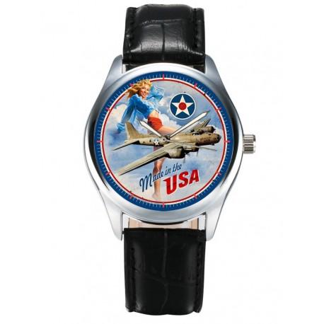 Classic Pinup USAAF B-17 Flying Fortress Rare WW-II Aviation Art Wrist Watch