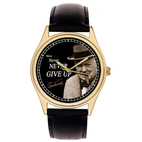 Never Give Up British Bulldog Churchill Ww-Ii War Cabinet Art Brass Wrist Watch