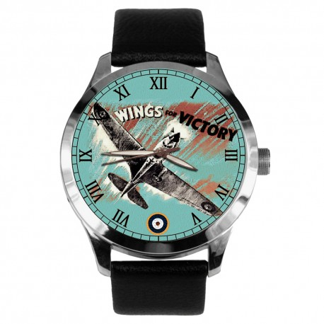 Wings of Victory. Historical Hawker Hurricane WW-II RAF Aviation Art Collectible Wrist Watch