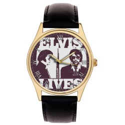Elvis Presley Chicago Police Mug Shot Pop Art Collectible Brass Wrist Watch