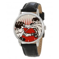 Warholesque Pop Boxer Boxing Art Collectible Solid Brass Wrist Watch