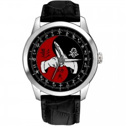 Bruce Lee Kung Fu Kungfu Eye-Catching Chinese Yin Yang Art 40 mm Collectible Wrist Watch