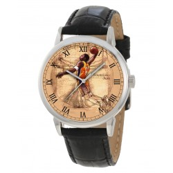 "Classic Basketball Art ""Renaissance Man"" Leonardo Da Vinci Vitruvian Man Inspired Art Wrist Watch"