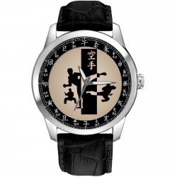 Karate Martial Arts Classic Collectible Silhouette Art Mandarin Dial 40 mm Wrist Watch