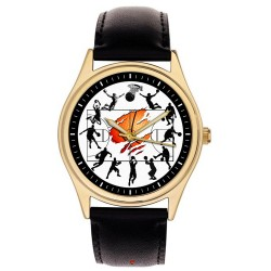 Classic Basketball Collage Art Collectible Soldi Brass Wrist Watch