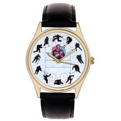 Fantastic Ice Hockey Collage Art 40 mm Solid Brass Collectible Wrist Watch