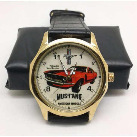 """Vintage 1969 Ford Mustang """"American Muscle"""" Hotrod Art 40 mm Collectible Wrist Watch"""