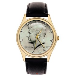 Classic President John F. Kennedy JFK Silver Dollar Art Collectible 40 mm Solid Brass Wrist Watch