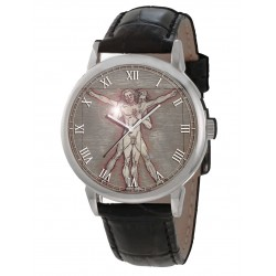 "Classic Queer Gay Art ""The Vitruvian Men"", Leonardo Da Vinci Parchment Art Dial Original Art Wrist Watch"