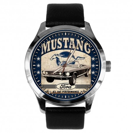 Vintage Ford Mustang Convertible Hotrod Promotional Poster Art 40 mm Collectible Wrist Watch