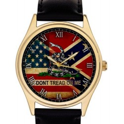 """Confederate Army American Southern Nationalism """"Don't Tread on Me!"""" Vintage Art Collectible Wrist Watch"""