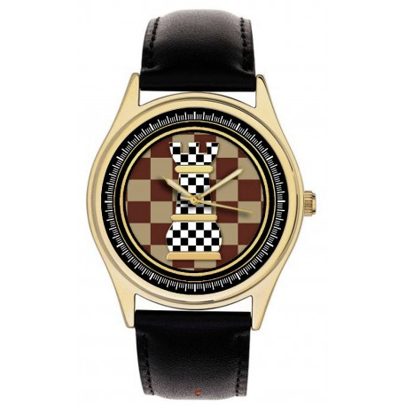 Chequered Rook Chess Art Collectible 40 mm Solid Brass Wrist Watch