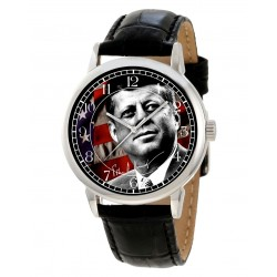 John F. Kennedy JFK Classic Stars and Stripes Art Collectible 40 mm Solid Brass Wrist Watch