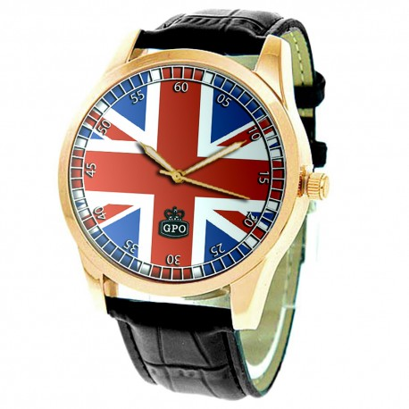 UNION JACK GREAT BRITAIN UK FLAG VINTAGE GPO ART SOLID BRASS 40 mm WRIST WATCH
