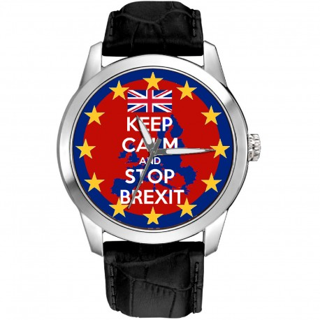Keep Calm and Fight Brexit. Collectible British Art Remain Campaign Art 40 mm Support Watch