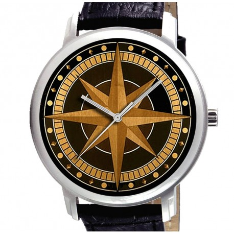 VINTAGE BRITISH COMPASS ROSE WOODCUT ART COLLECTIBLE 40 mm NAUTICAL THEME WATCH