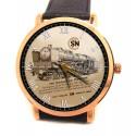 Vintage Machine à Vapeur, France SNCF, Locomotive Art Sépia Montre de Collection / Wrist Watch