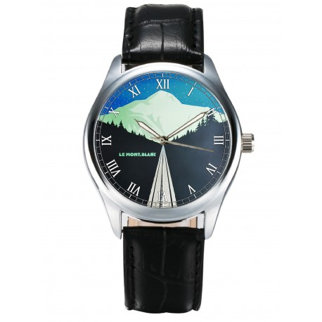 MONT BLANC CHAMONIX MER DE GLACE VINTAGE FRENCH ART COLLECTIBLE 40mm WRIST WATCH
