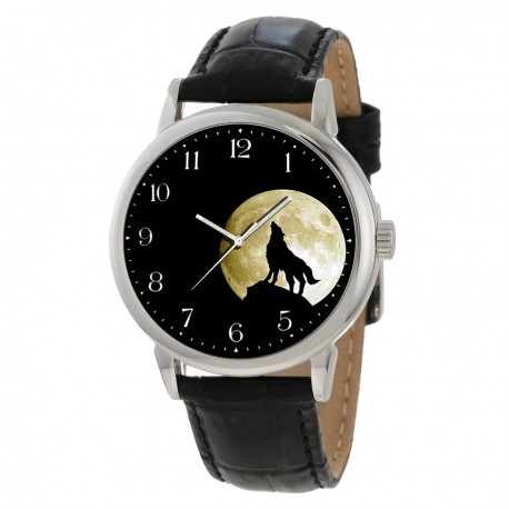 Classic Wolf Howling at the Moon Graphic Art Gents Collectible Wrist Watch