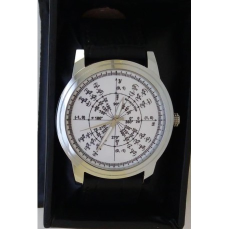 Classic White Radian Math Circle Mathematics Art Wrist Watch