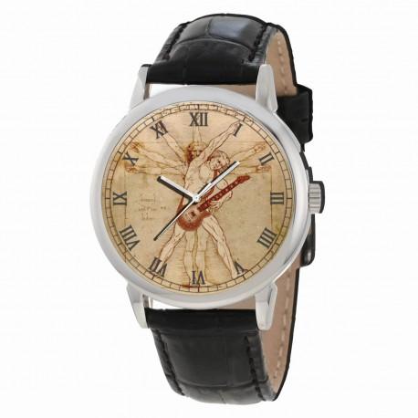 The Vitruvian Guitar Player, Classic Leonardo Da Vinci Parchment Art Dial Original Art Wrist Watch