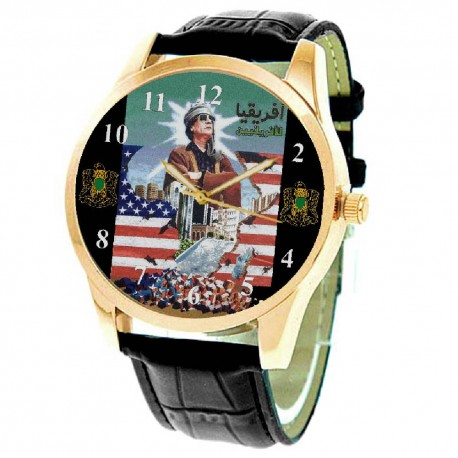 Down with America! Muammur Gaddafi Vintage Anti-American Poster Art Collectible Wrist Watch