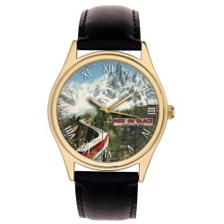 VINTAGE MONT BLANC FRANCE RAILWAY POSTER ART COLLECTIBLE SOLID BRASS WRIST WATCH