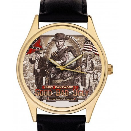Good, Bad, Ugly. Classic Clint Eastwood Hollywood Art Collectible Wrist Watch