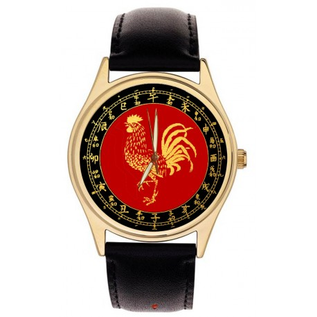 Chinese New Year of the Rooster Cock Good Luck Colors Beautiful Gold Wrist Watch